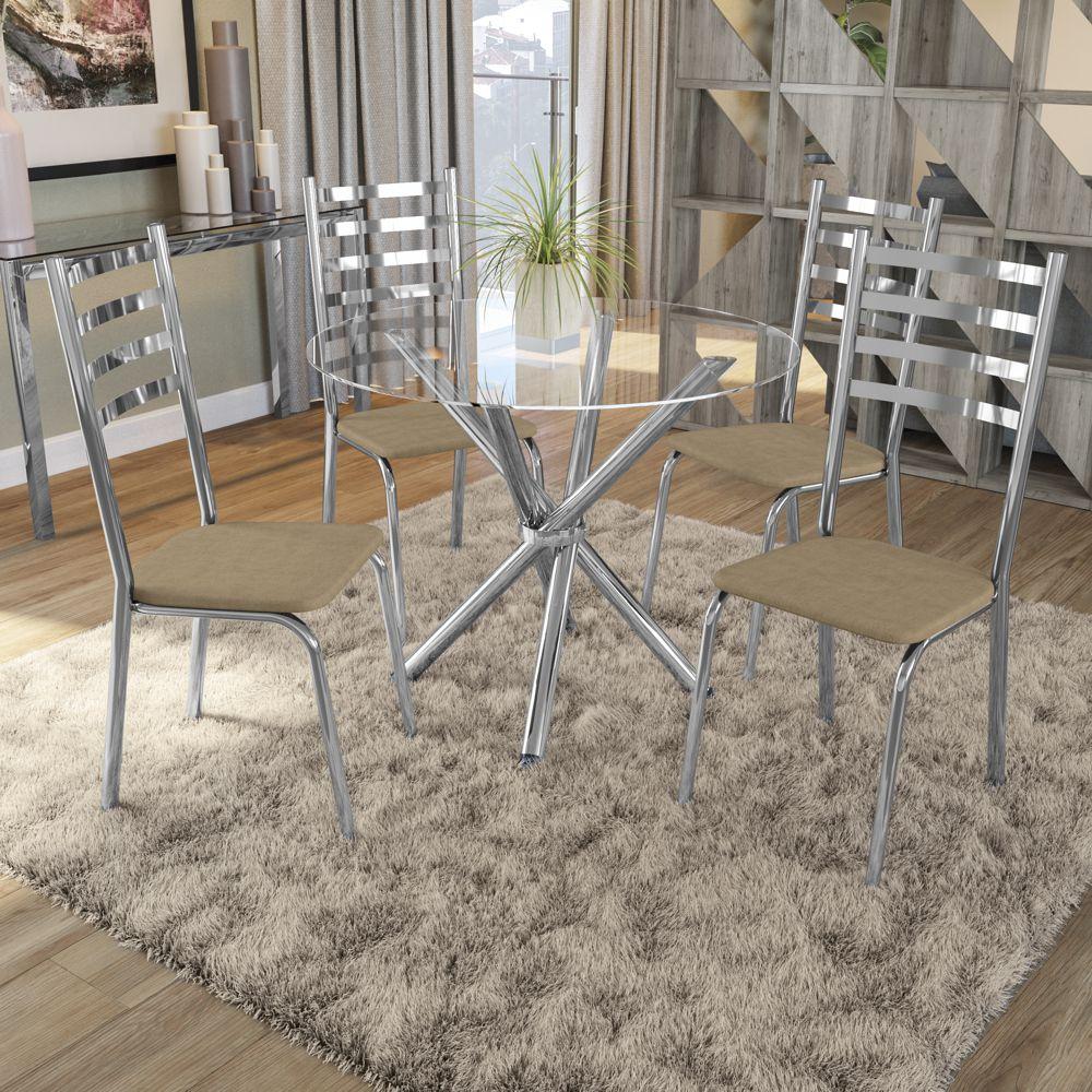 Mesa Redonda com 4 cadeiras Assento Estofado Estrutura Cromada e Tampo de Vidro Incolor CMC734 Kappesberg Crome