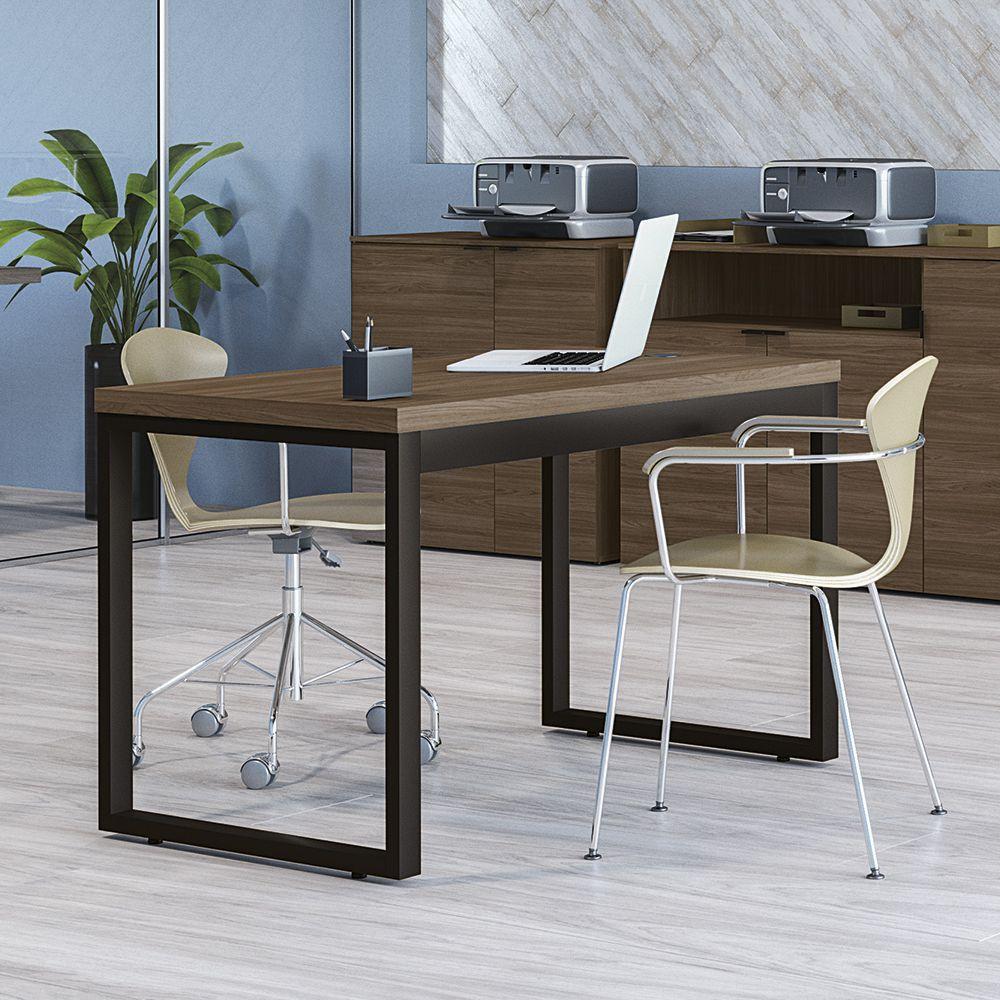 Mesa para Escritório Estilo Industrial 1,20m com Entrada USB Pés de Aço Frame F122 Kappesberg