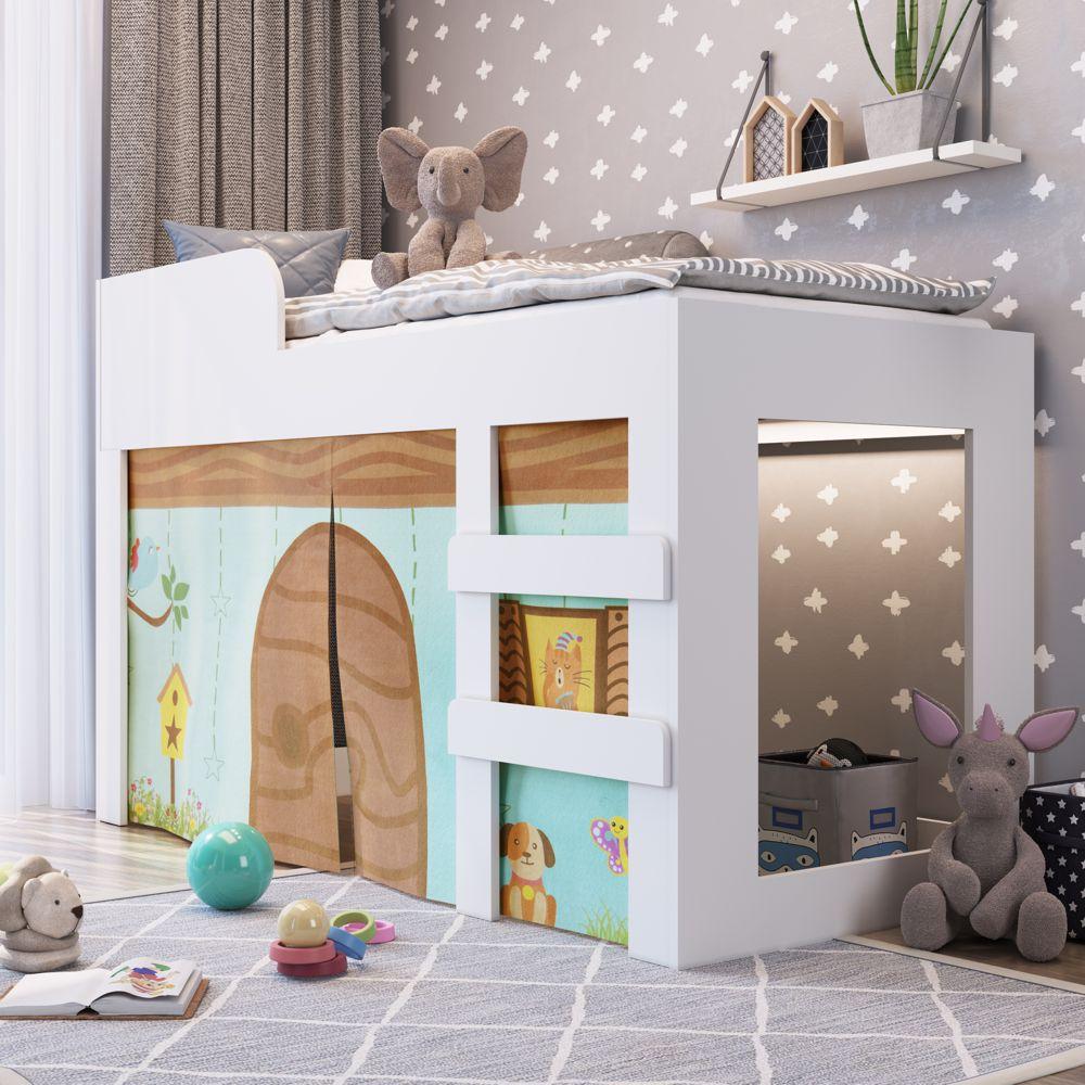 Mini-Cama Infantil com cortininha, escada e proteção lateral Recreação CM070 Meu Fofinho