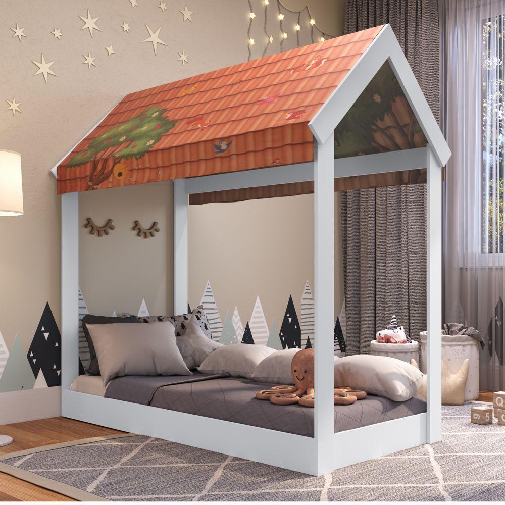 Mini-cama infantil Montessoriana com telhadinho MC700 Meu Fofinho