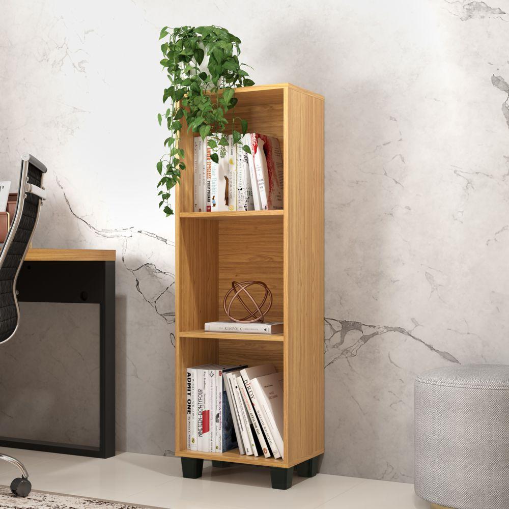 Mini estante para Livros 39,5cm com 3 Nichos 100% MDF C52 Pradel Móveis