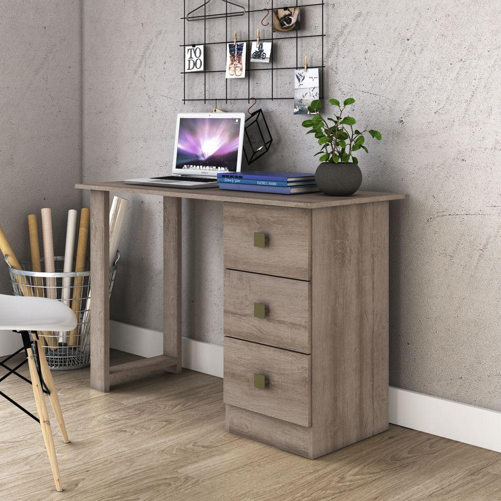 Mesa de Computador e Escrivaninha 3 Gavetas 1,10m MSM 436 - Movelbento