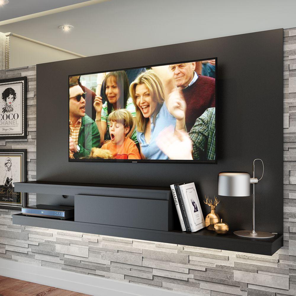 Painel de TV Suspenso 1,60m Engrossurado Com Gaveta Branco/Preto KD1601 Quiditá