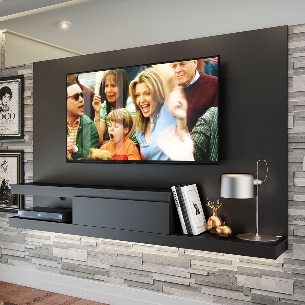Painel de TV Suspenso 2,00m Engrossurado Com Gaveta Branco/Preto KD2000 Quiditá
