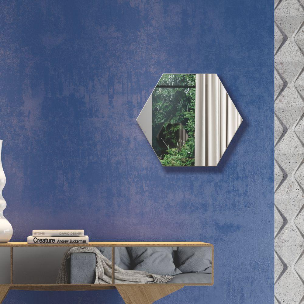 Painel Decorativo Haxágono com Espelho Colado 34,5x30cm ES1 Dalla Costa