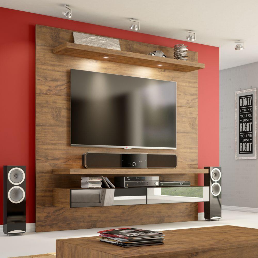 Painel para TV Suspenso 180cm com Led e Espelho TB107E Dalla Costa