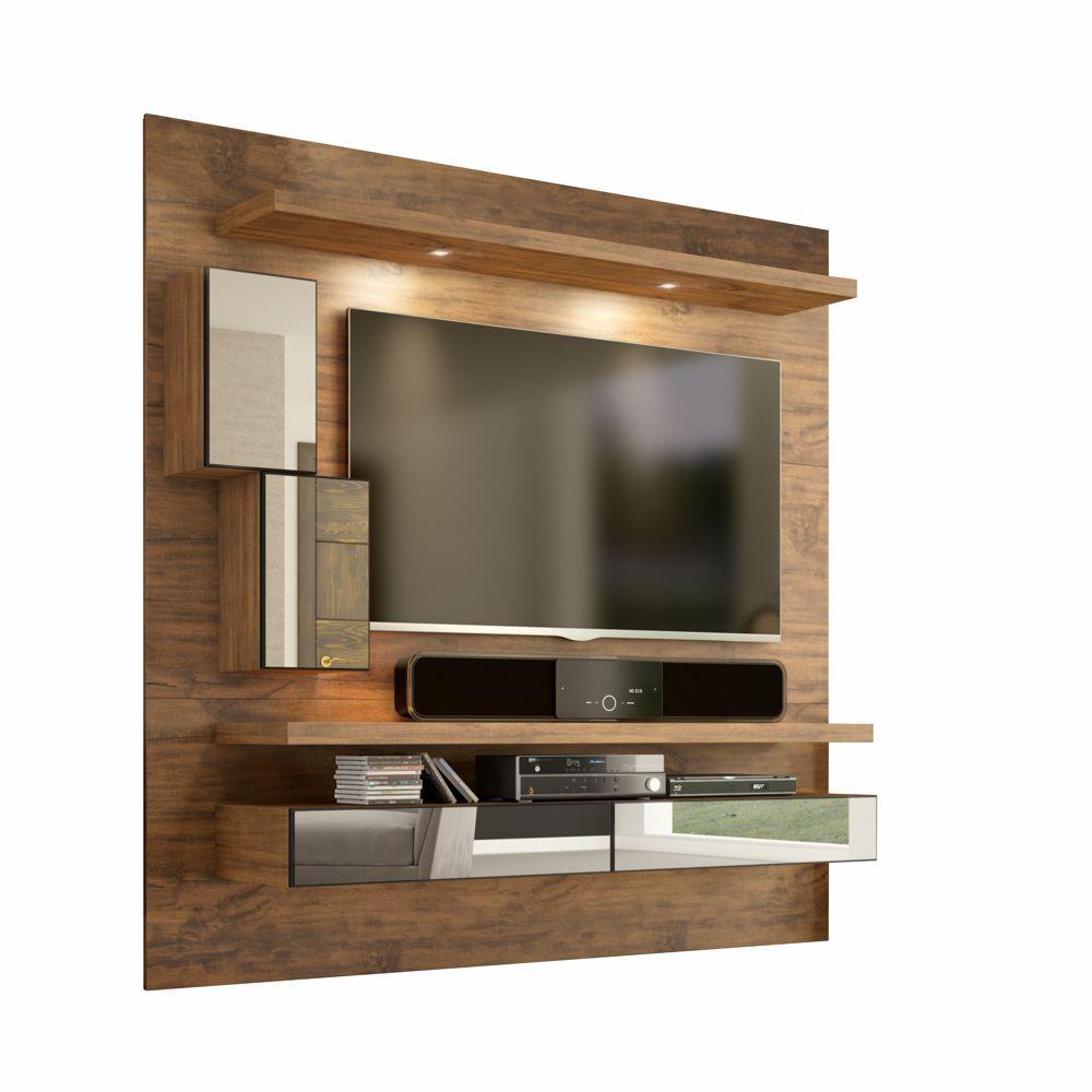 Painel para TV Suspenso 180cm com Led Espelho e Nicho TB109E Dalla Costa