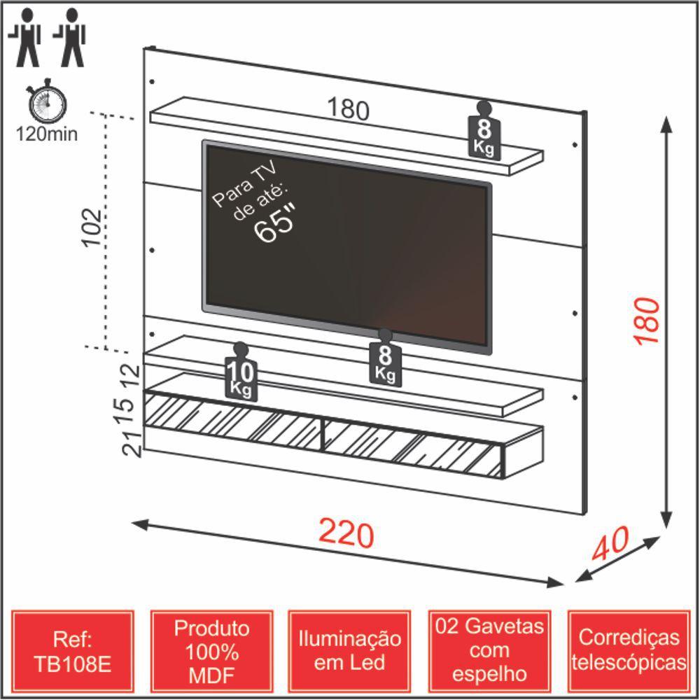 Painel para TV Suspenso 220cm com Led e Espelho TB108E Dalla Costa
