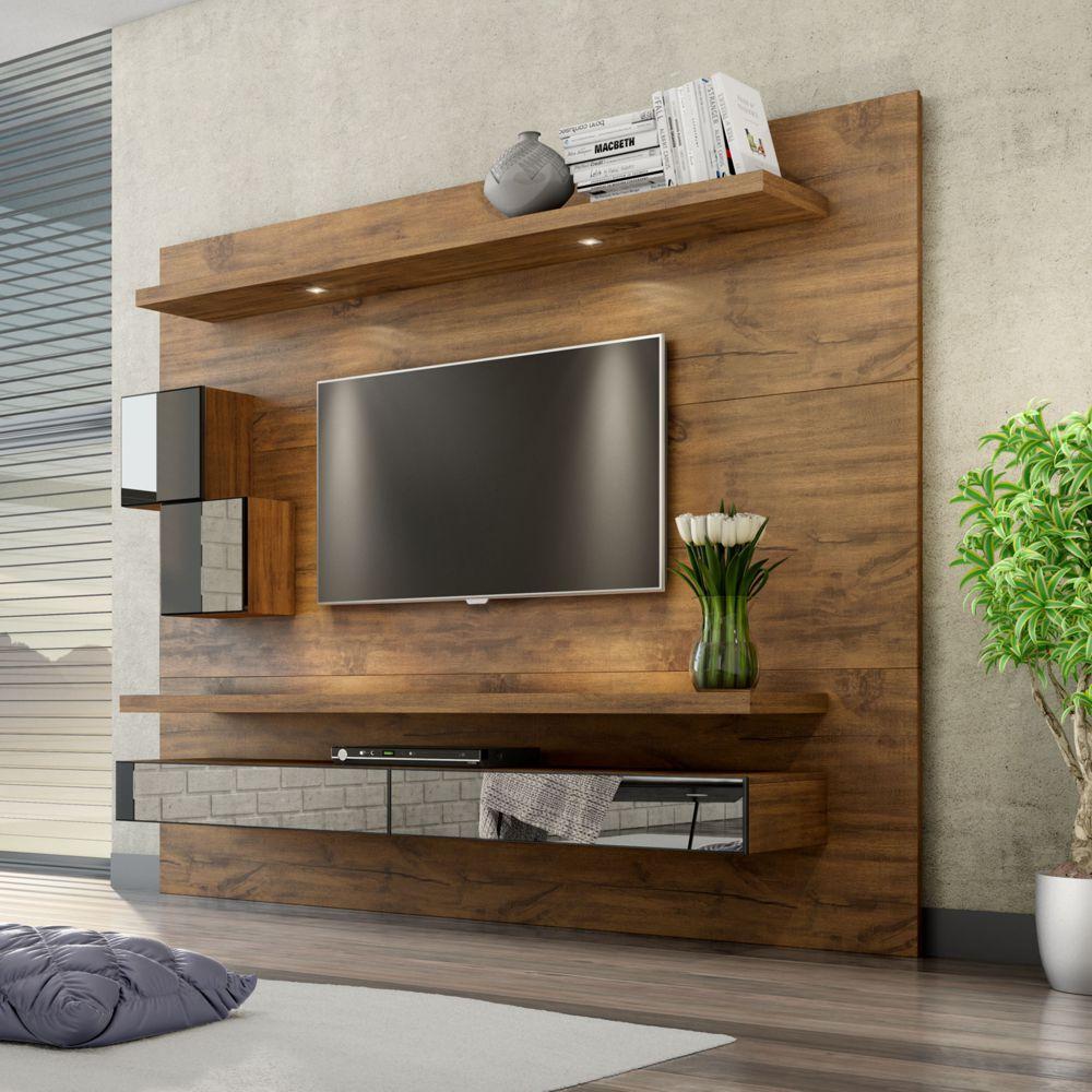 Painel para TV Suspenso 220cm com Led Espelho e Nicho TB110E Dalla Costa