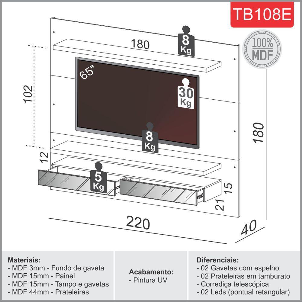 """Painel TV 65"""" Suspenso 2,20m com Luzes Led e Espelhos 100% MDF TB108E Dalla Costa"""