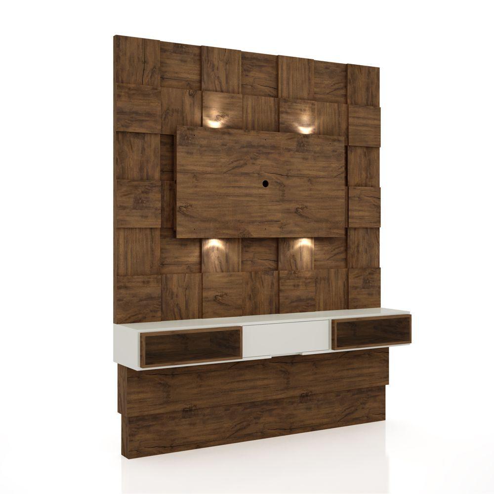 Painel TV Quadriculado 3D com gaveta painel sobreposto LED TB125L Dalla Costa