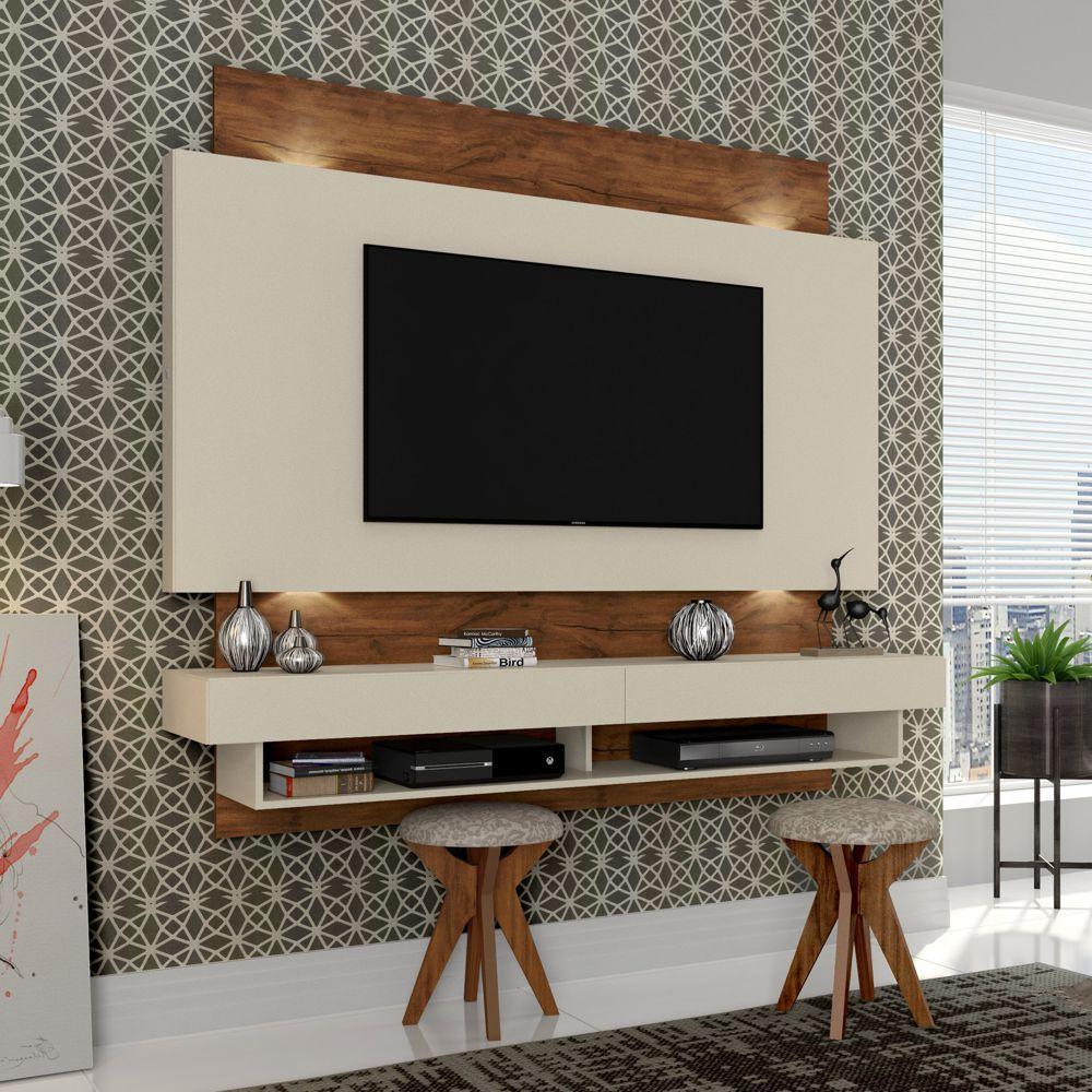 Painel TV Suspenso 180cm 2 Gavetas Luzes LED TB115L Dalla Costa