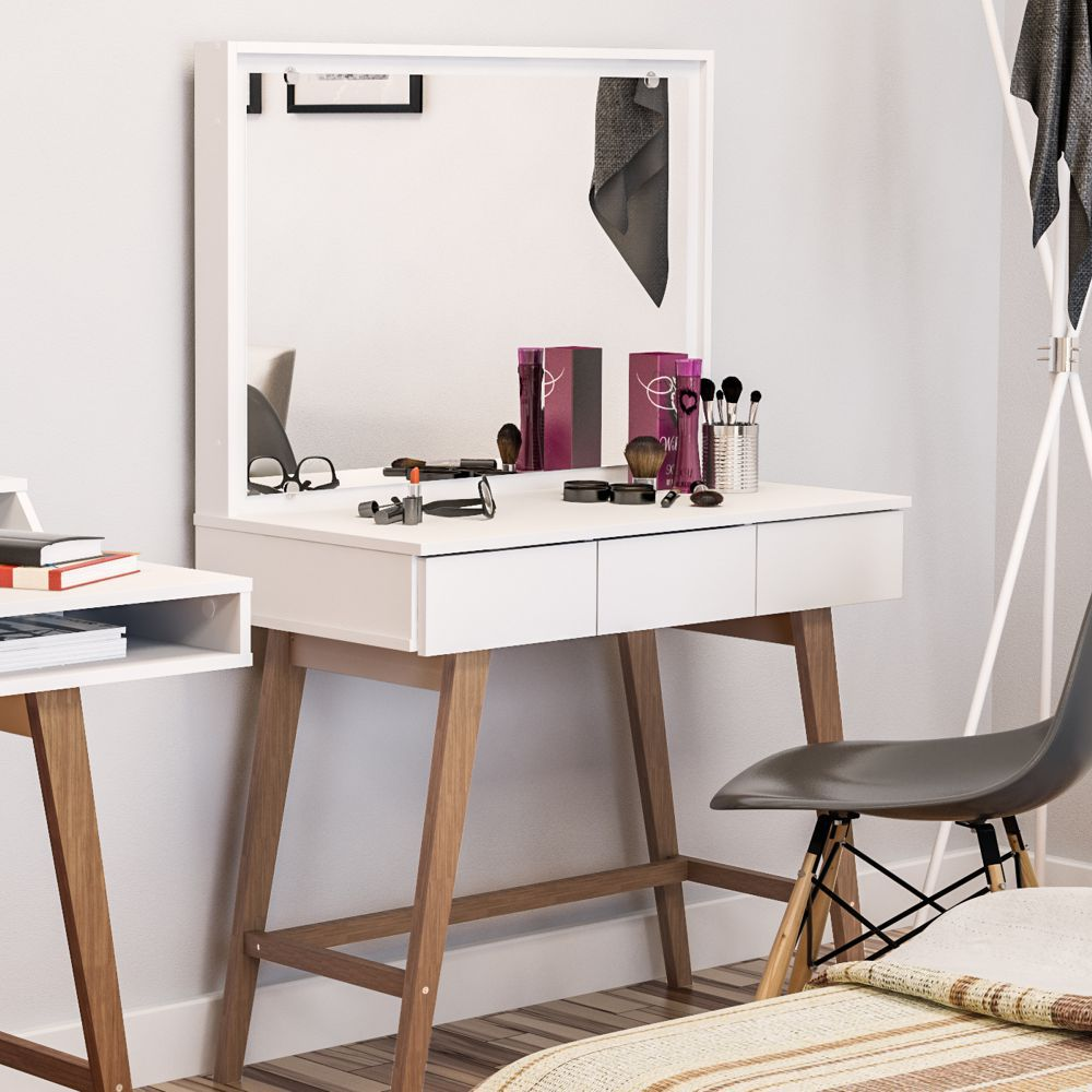 Penteadeira Cavalete 90cm com Espelho 3 Gavetas Ipanema 170201 Politorno