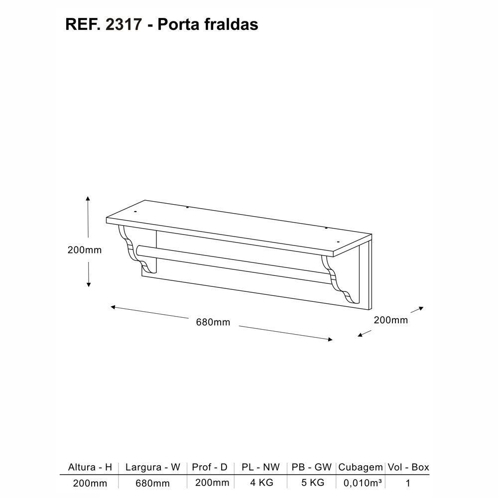 Prateleira Porta Fraldas 68cm Bolinha de Sabão 100% MDF 2317 Multimóveis
