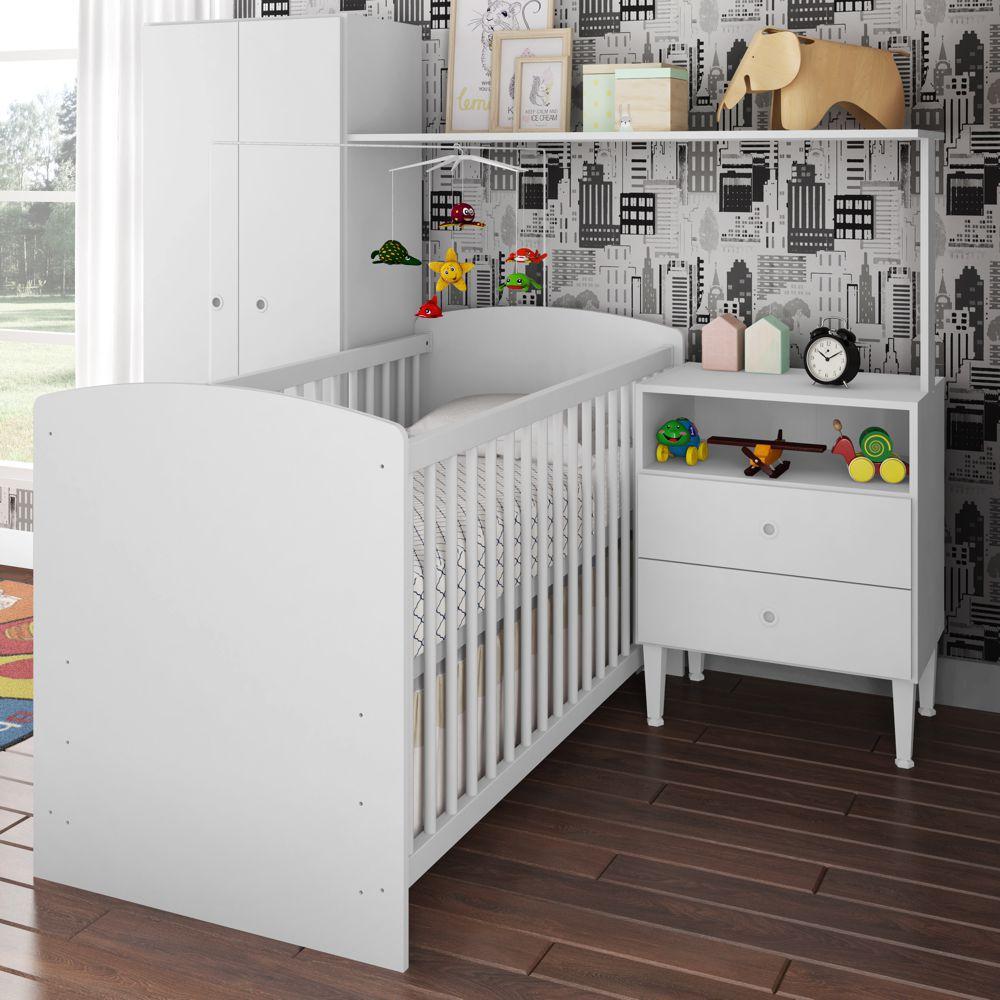 Quarto de Bebê Completo com Berço Vira Cama, Sofá ou Escrivaninha CJ026 Meu Fofinho