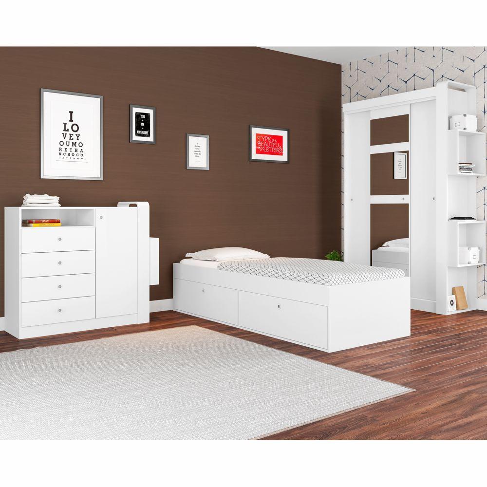Quarto Solteiro Completo 3pc Cama Com Baú Cômoda e Roupeiro CJ012 Art in Móveis