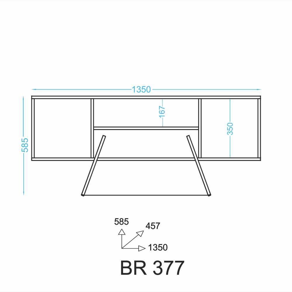 Rack 135cm Estrutura de Aço 2 portas BR 377 BRV Móveis