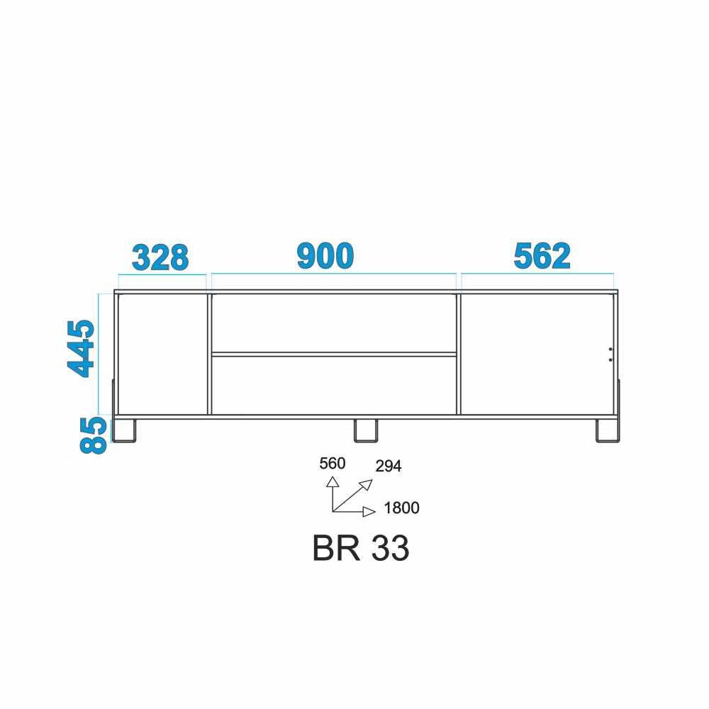 Rack 185cm 1 Porta de Correr BR 33 BRV Móveis