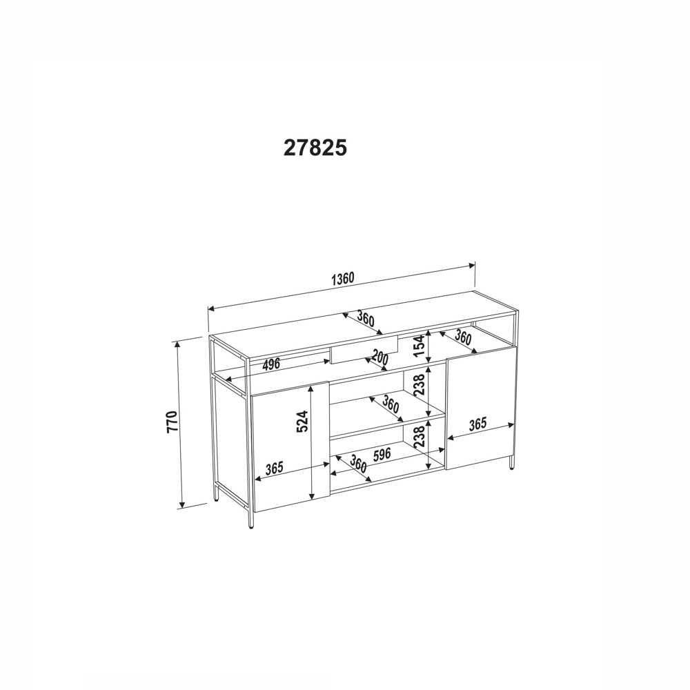 Rack Aço e MDF 2 Portas 136cm 27825 Steel Quadra Artesano
