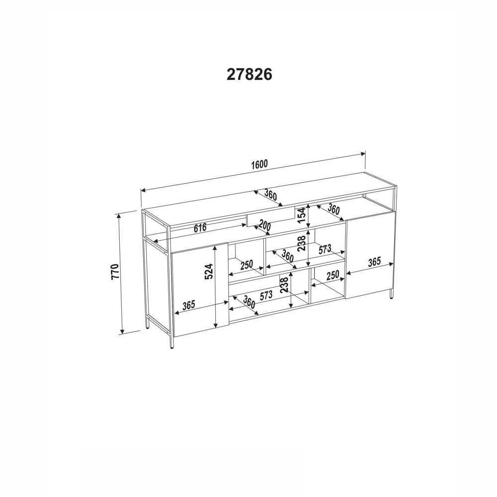 Rack Aço e MDF 2 Portas 160cm 27826 Steel Quadra Artesano