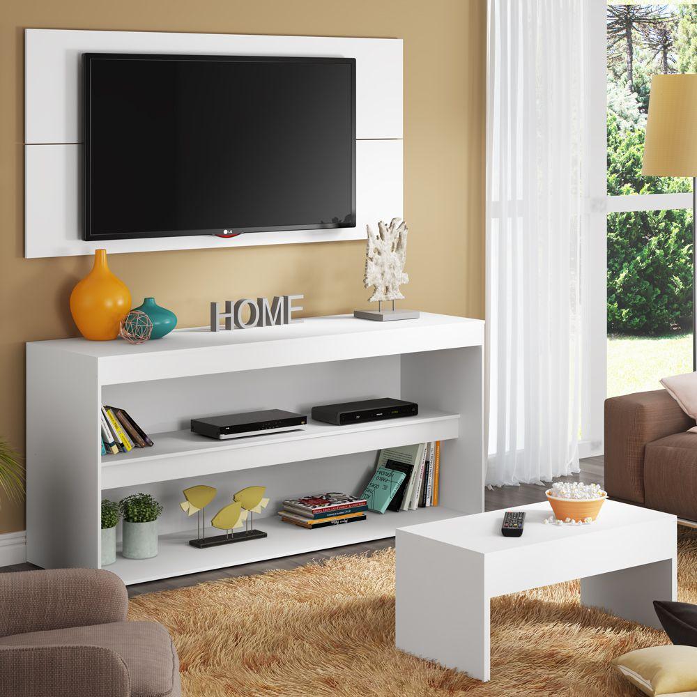 Rack com Painel para TV até 55 Polegadas e Mesa de Centro Flórida 6007091 Madesa