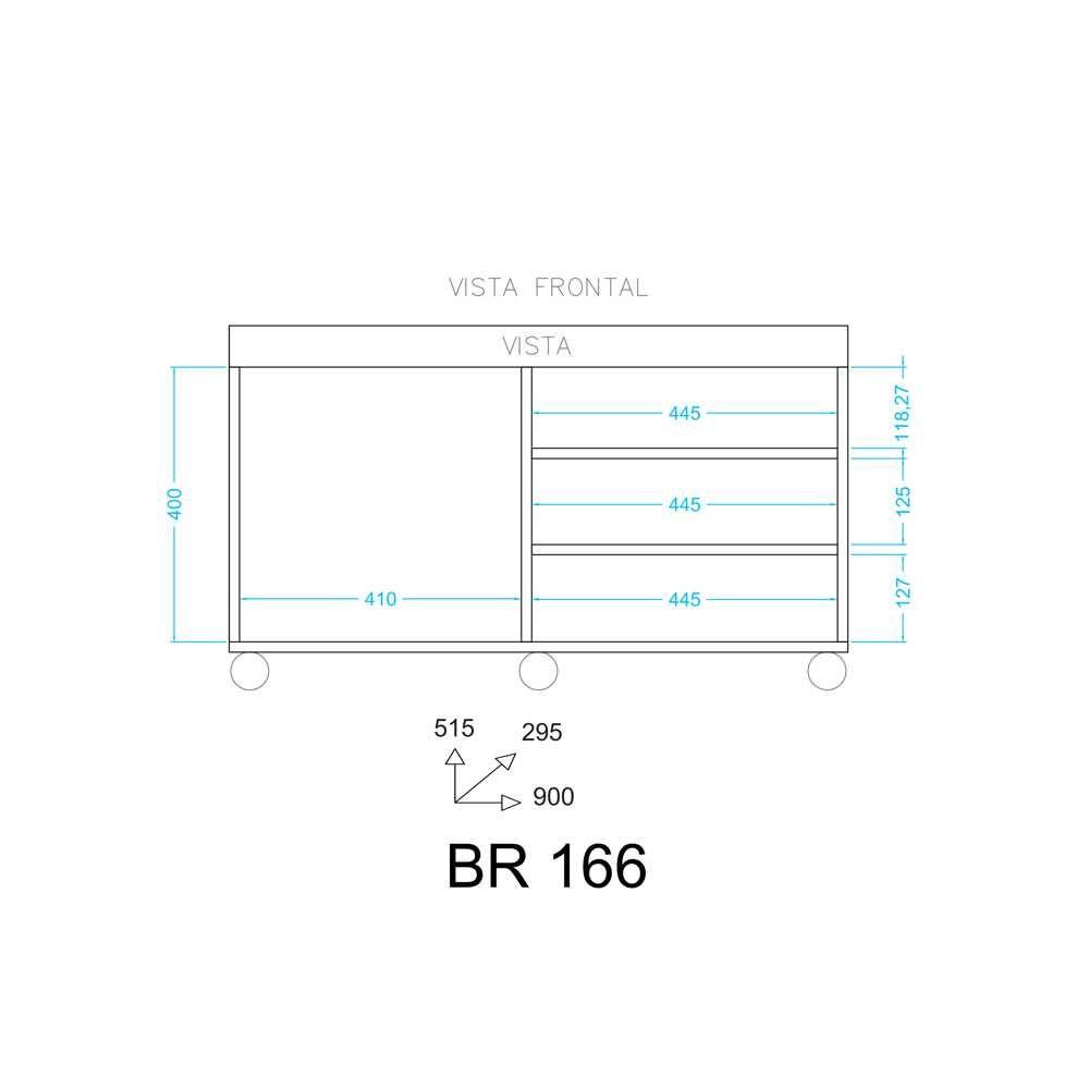 Rack com Rodízios 90cm BR 166 BRV Móveis