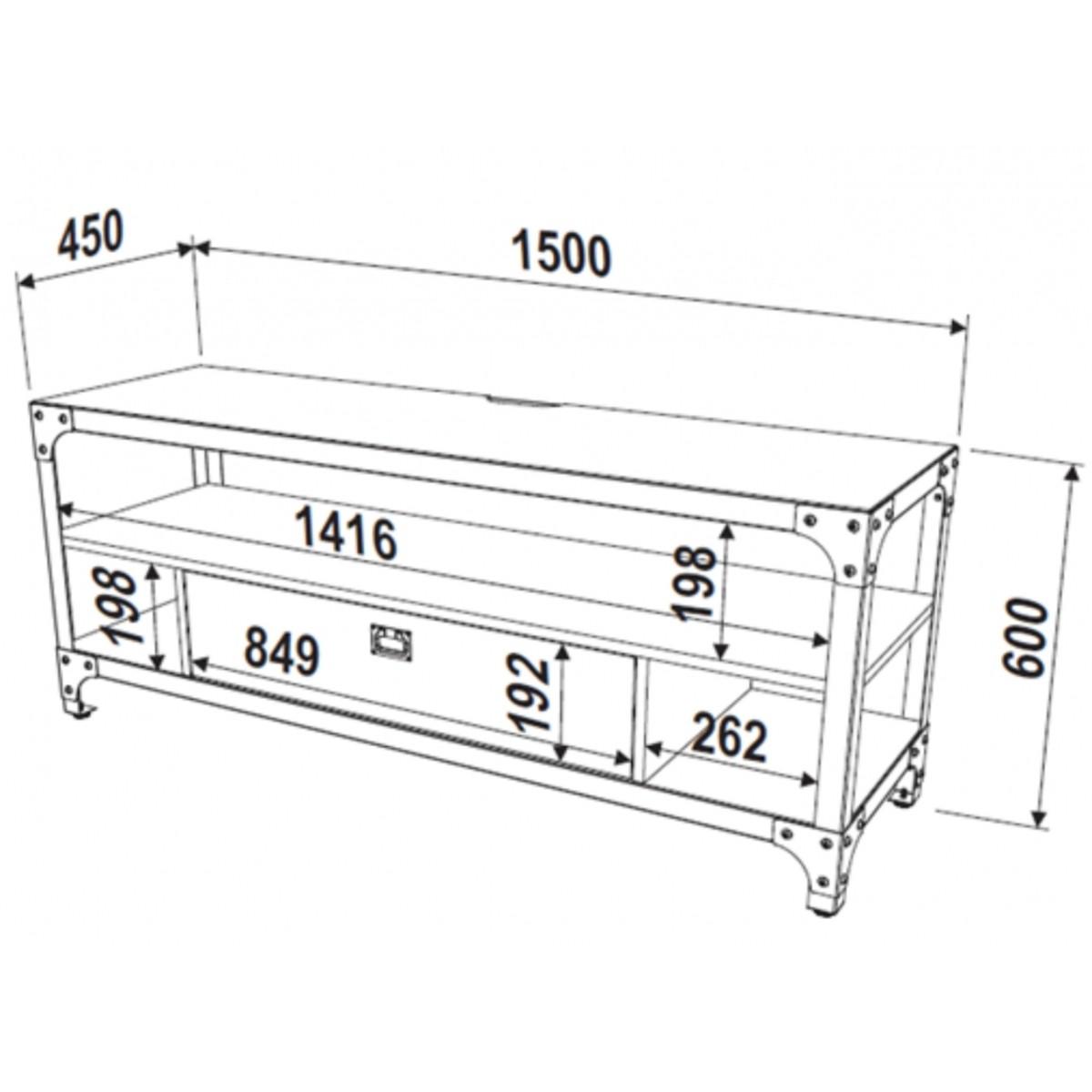Rack em Aço e MDF 150cm 1 gaveta Steel Artesano