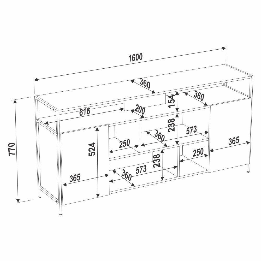 Rack Estilo Industrial 1,60m com 2 Portas 27826 Steel Quadra Artesano