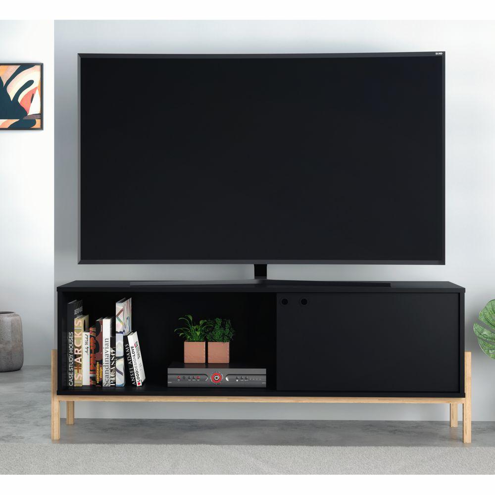 Rack para TV 1,35m com 1 Porta de Correr Preto BR 52 BRV Móveis
