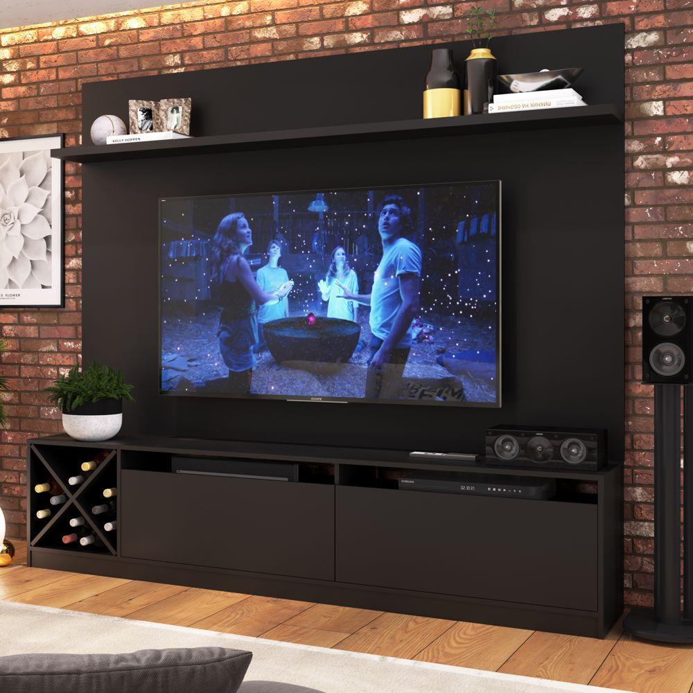 Rack para TV 1,60m 2 Portas com Adega e Painel 2023 Quiditá
