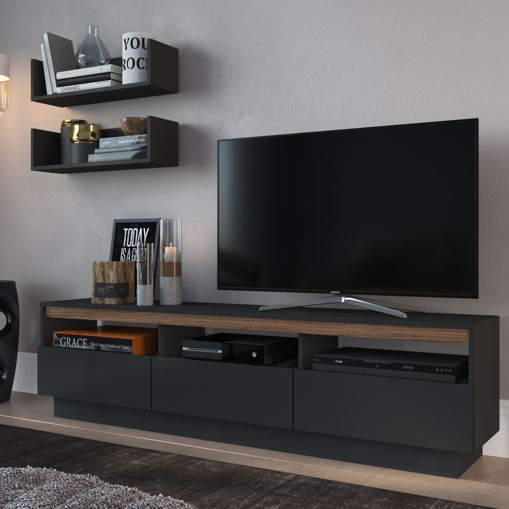 Rack para TV 1,60m BR106 + Prateleira Multiuso 60cm BR121 COMBR106 Estilare