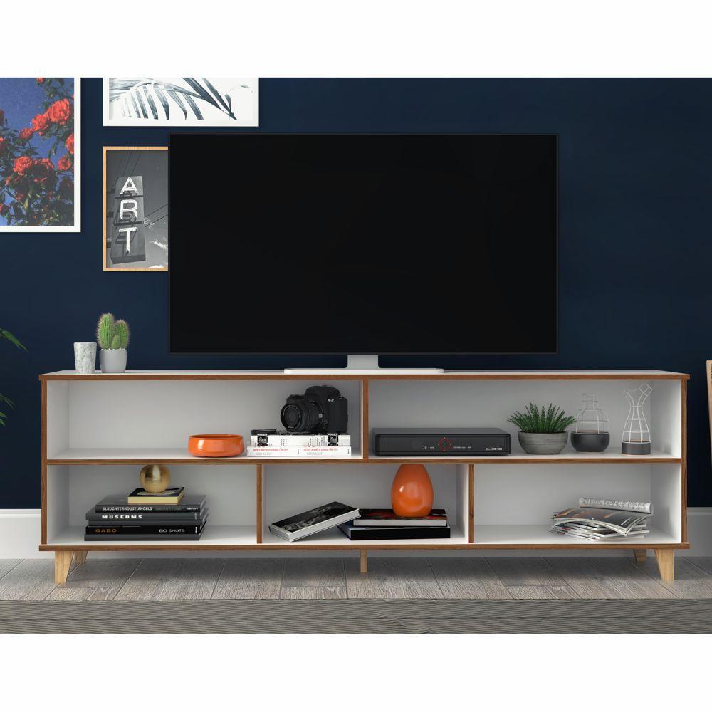 Rack para TV 1,80m com Pés Retrô e Borda Pinus BR 54 BRV Móveis