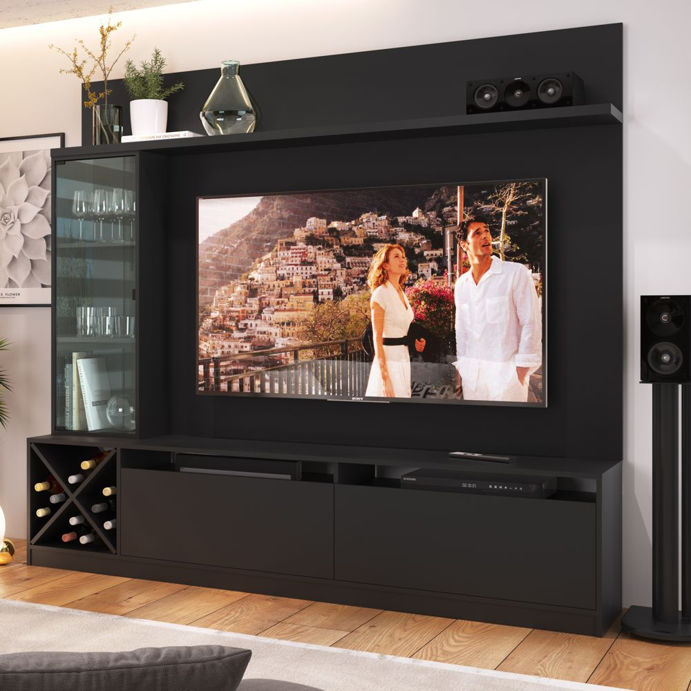 Rack para TV 2,00m com Painel, Cristaleira e Adega 2020 Quiditá