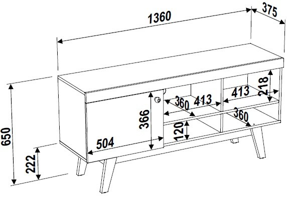 Rack Retrô 1 Porta 136cm 26705 Trend Artesano