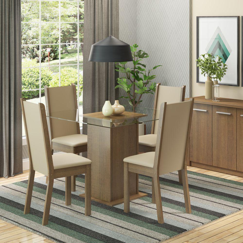 Sala de Jantar Aline Conjunto de Mesa com 4 Cadeiras 4574 Madesa