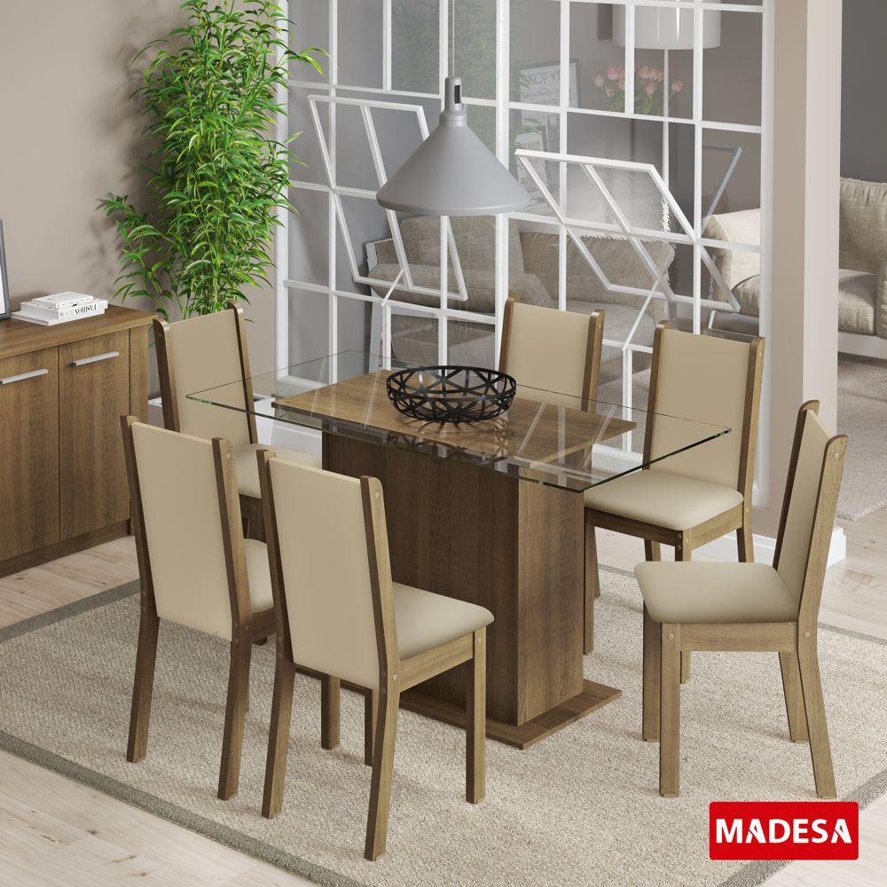 Sala de Jantar Aline Conjunto de Mesa com 6 Cadeiras 4585 Madesa