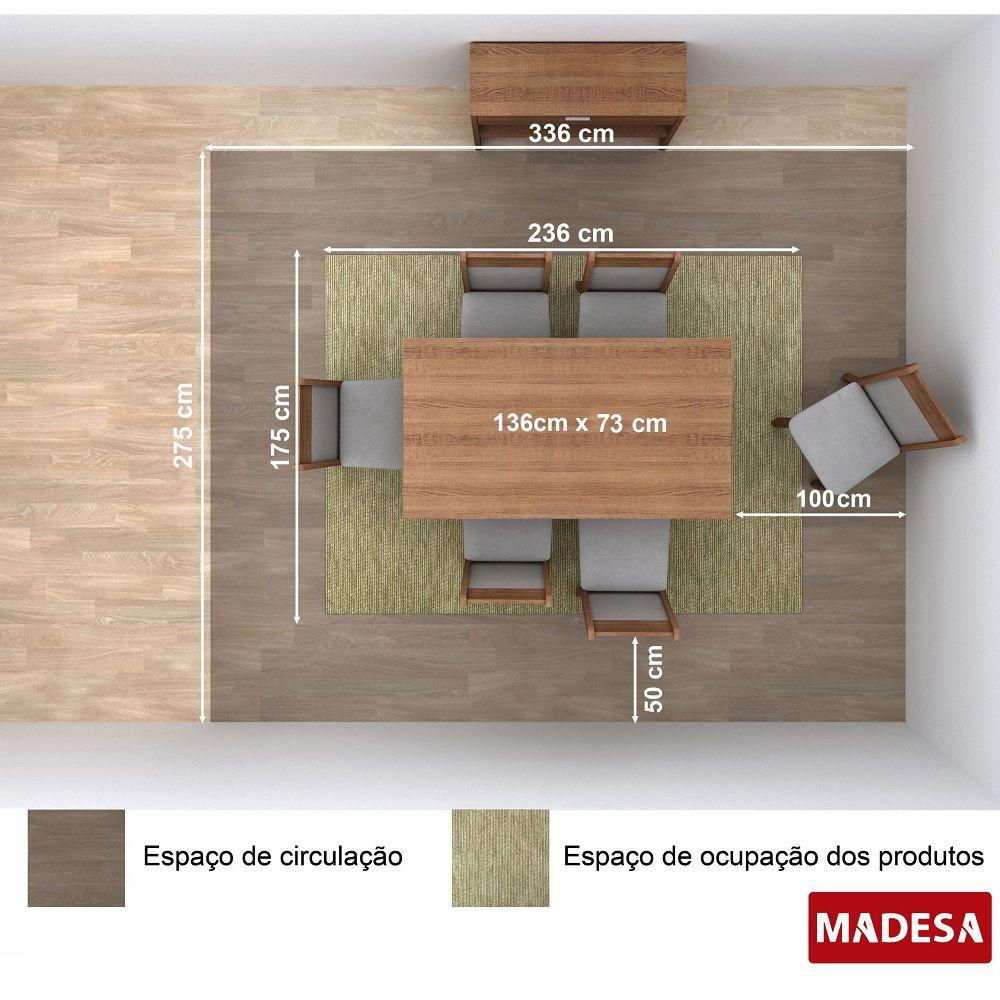 Sala de Jantar Amara Conjunto Mesa Retangular e 6 Cadeiras Estofadas Madesa