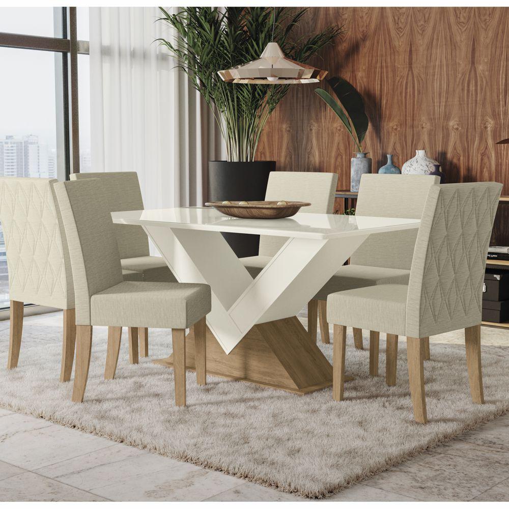 Sala de Jantar Amora Mesa 1,60x0,90m com Vidro e 6 cadeiras estofadas CSJ682 Kappesberg
