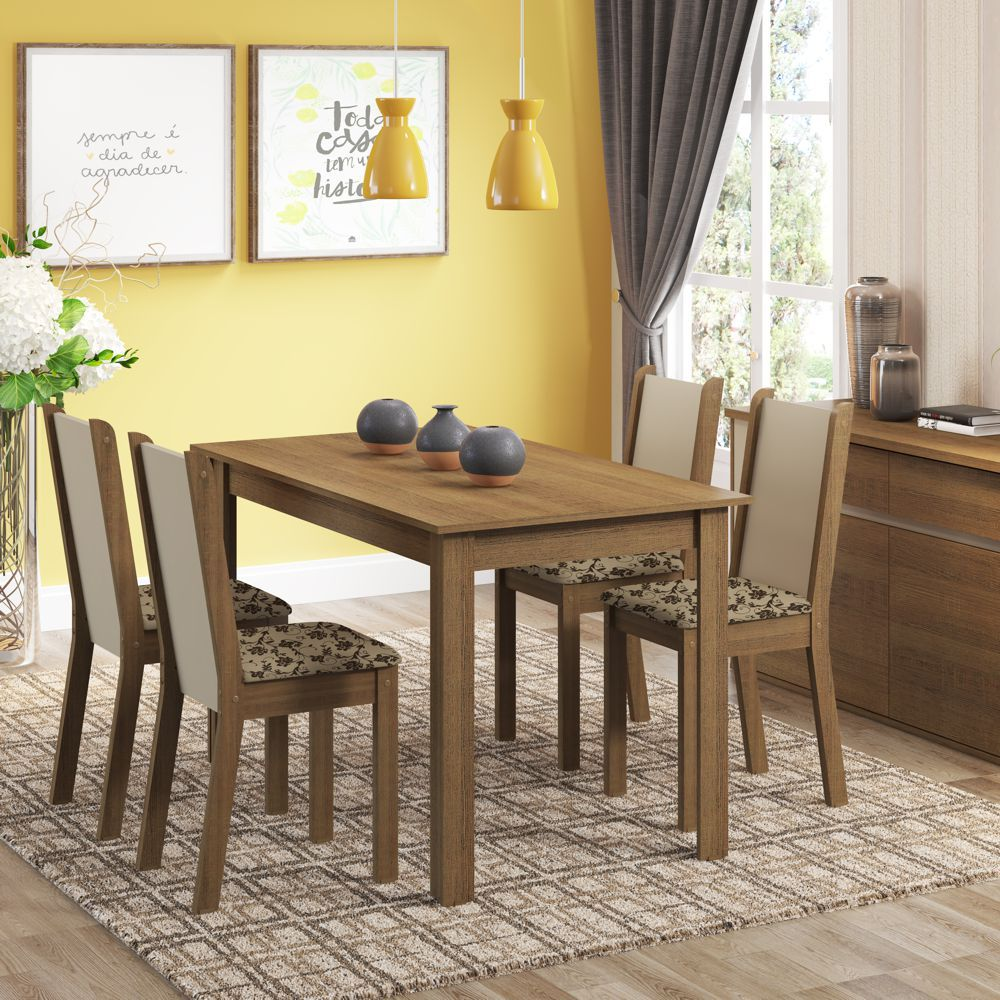 Sala de Jantar Bea Conjunto de Mesa com 4 Cadeiras 4564 Madesa