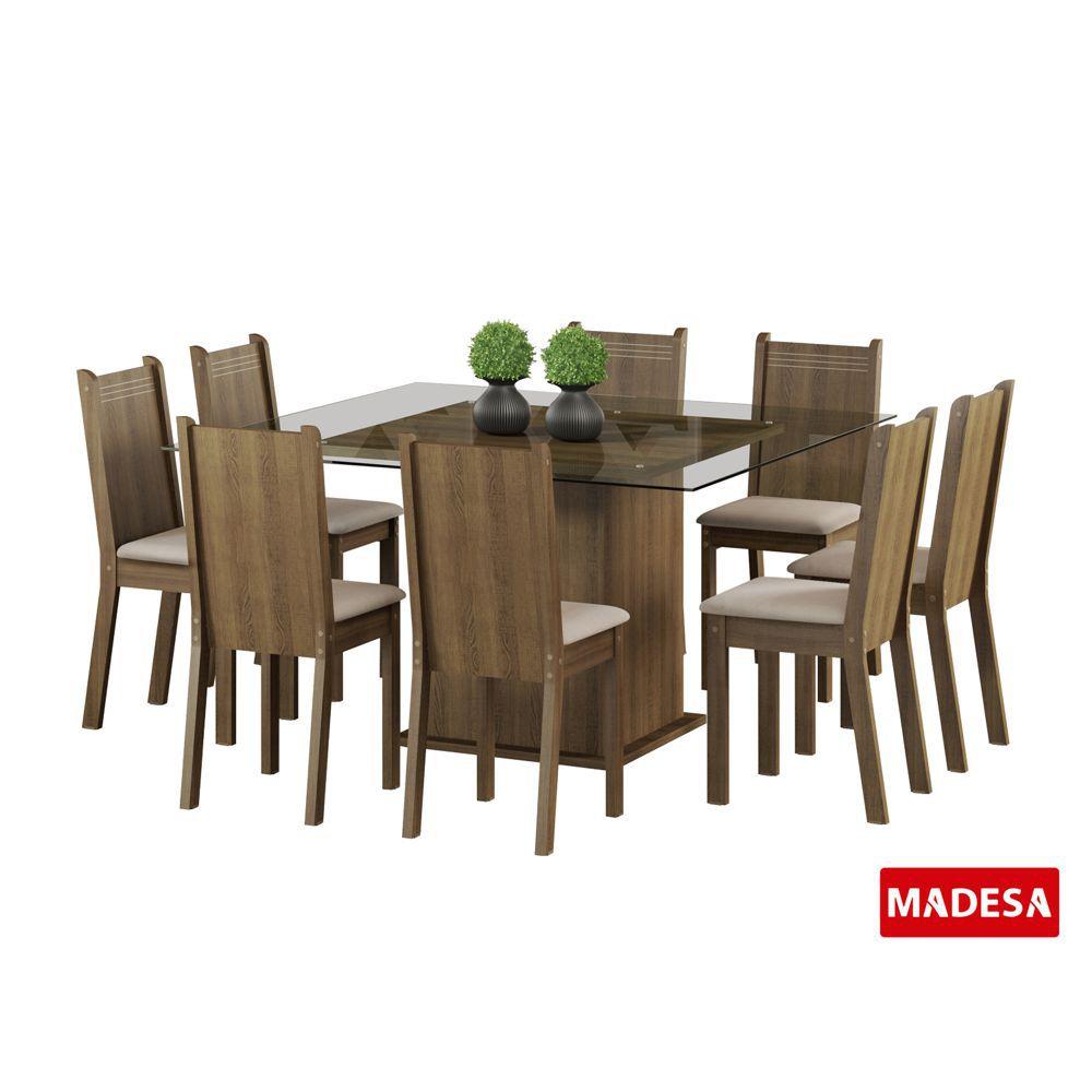 Sala de Jantar Camila Conjunto de Mesa com 8 Cadeiras 4481 Madesa