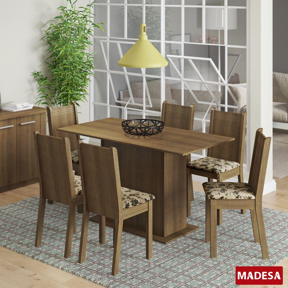 Sala de Jantar Celeny Conjunto de Mesa com 6 Cadeiras 4475 Madesa