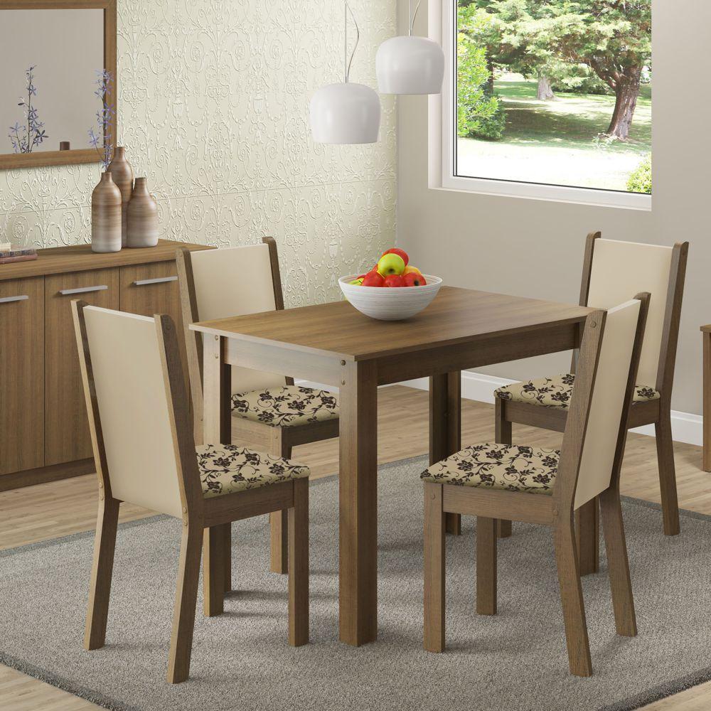 Sala de Jantar Cíntia Conjunto de Mesa com 4 Cadeiras 4566 Madesa