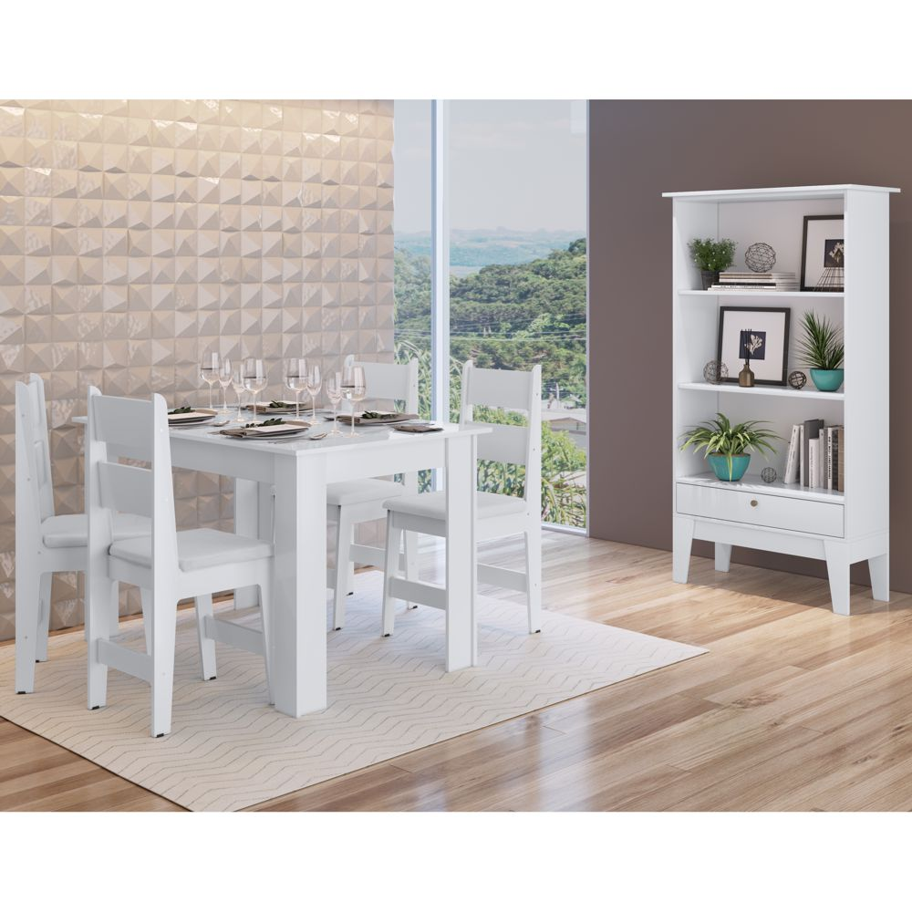 Sala de Jantar completa com mesa, 4 cadeiras e buffet CJE11200 Canção