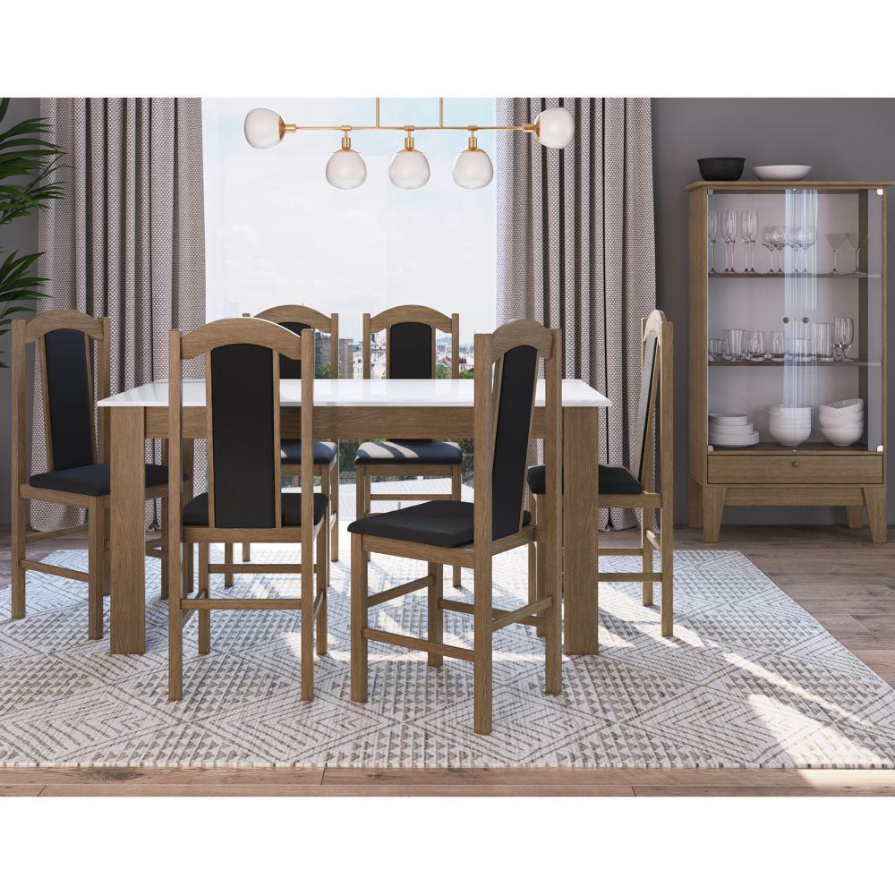Sala de Jantar completa com mesa, 6 cadeiras e Cristaleira CJE11500 Canção