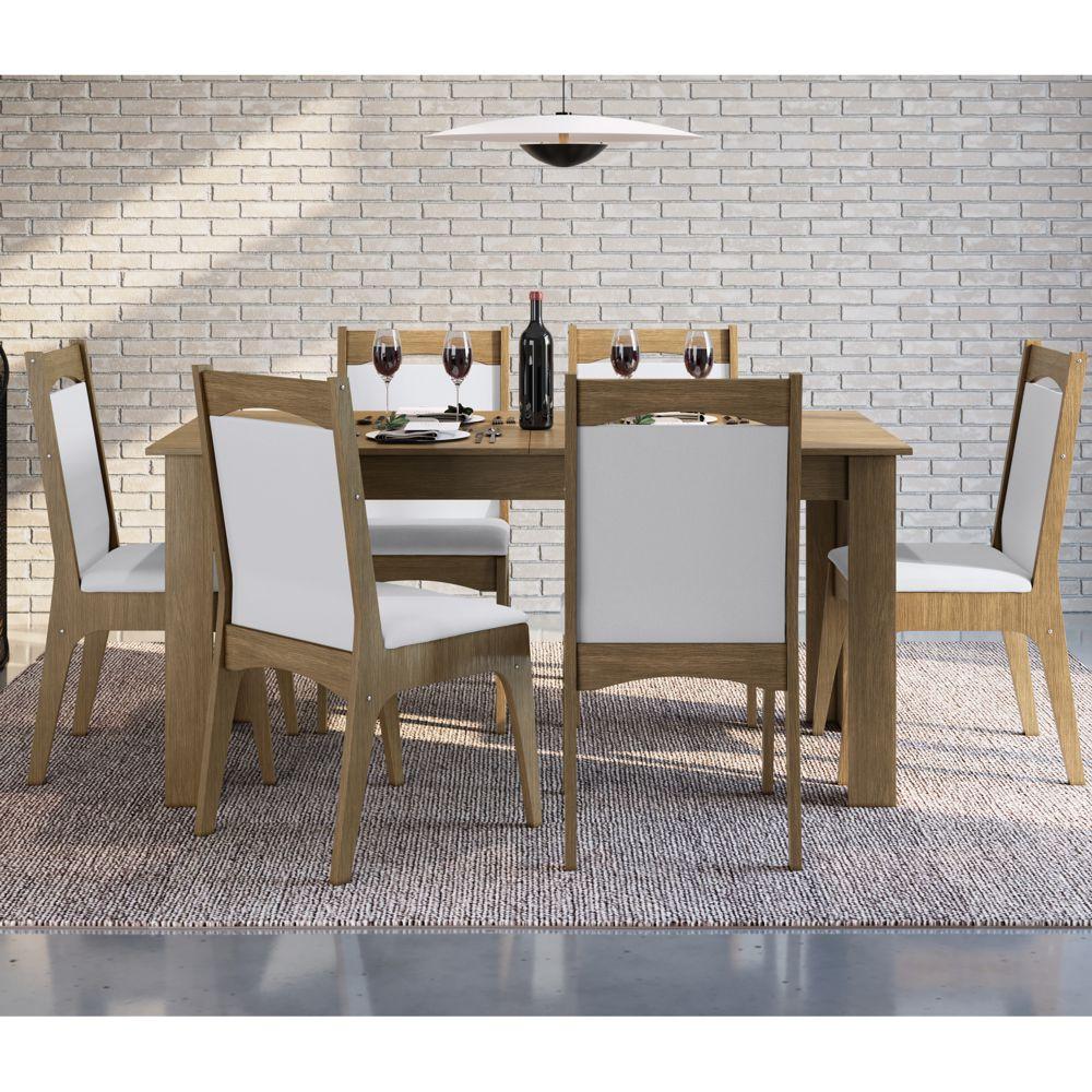Sala de Jantar completa com Mesa Extensível 160x/190cm e 6 cadeiras estofadas 10305 Canção