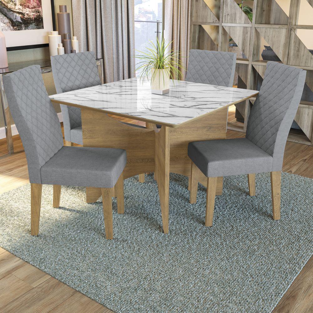 Sala de Jantar Conjunto de Mesa Camomila 1,30x1,30m com 4 cadeiras e Tampo de Vidro Kappesberg