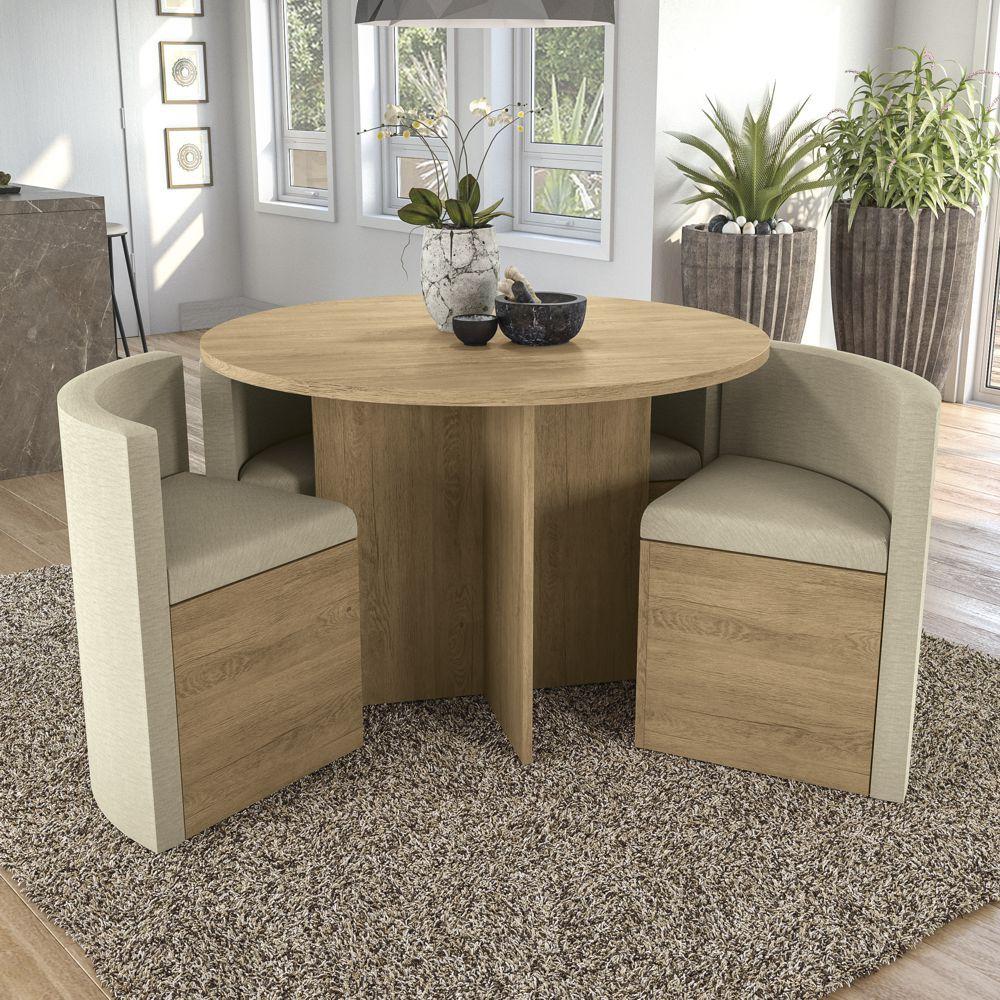 Sala de Jantar Conjunto de Mesa Redonda Nirá 1,08m com 4 cadeiras Kappesberg