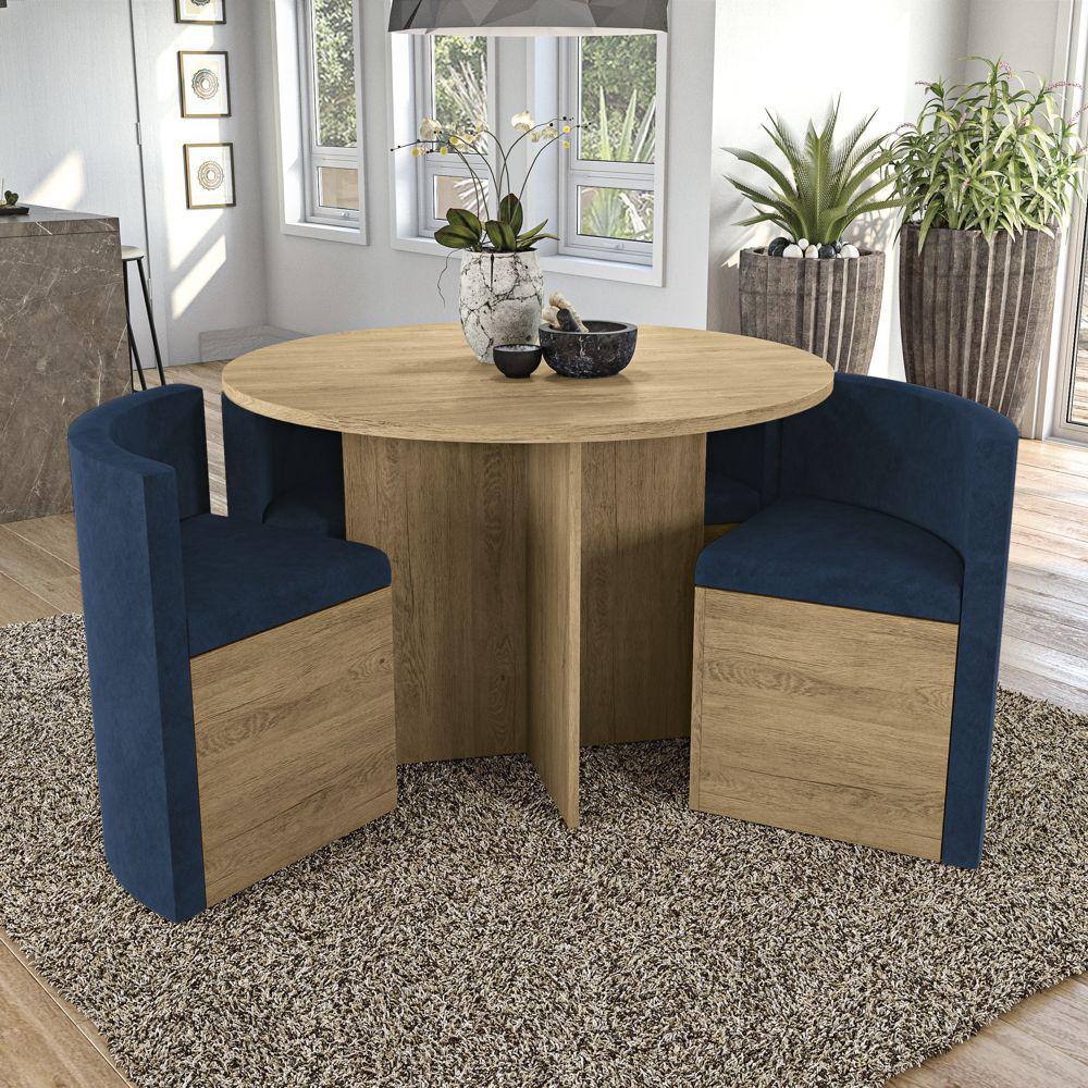 Sala de Jantar Conjunto de Mesa Redonda Nirá 1,08m com 4 cadeiras Kappesberg Jantar
