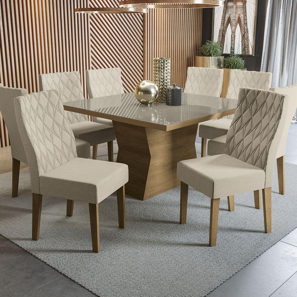 Sala de Jantar Conjunto de Mesa Tília 1,30x1,30m com 8 cadeiras e Tampo de Vidro Kappesberg
