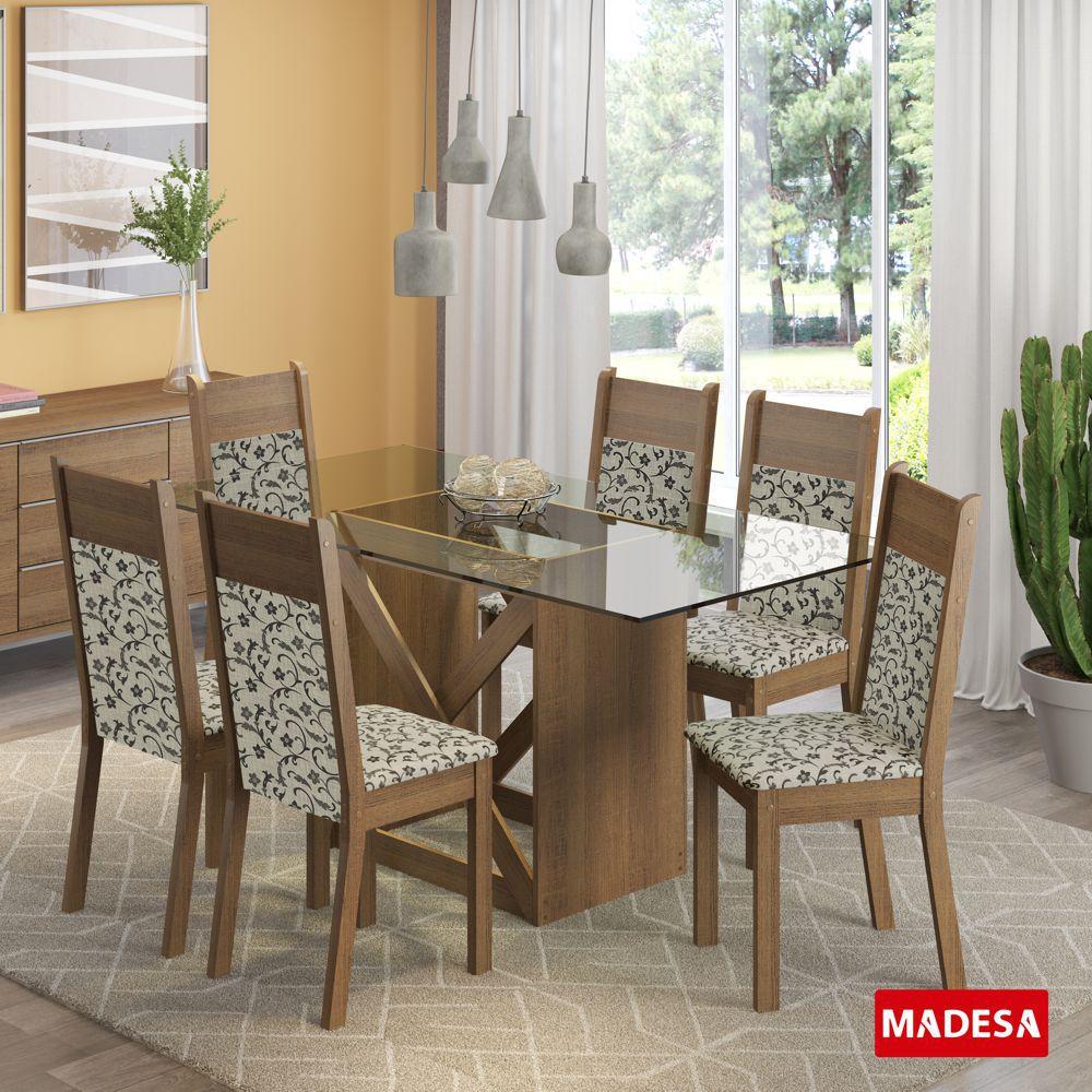 Sala de Jantar Denver Conjunto de Mesa com 6 Cadeiras 4548 Madesa